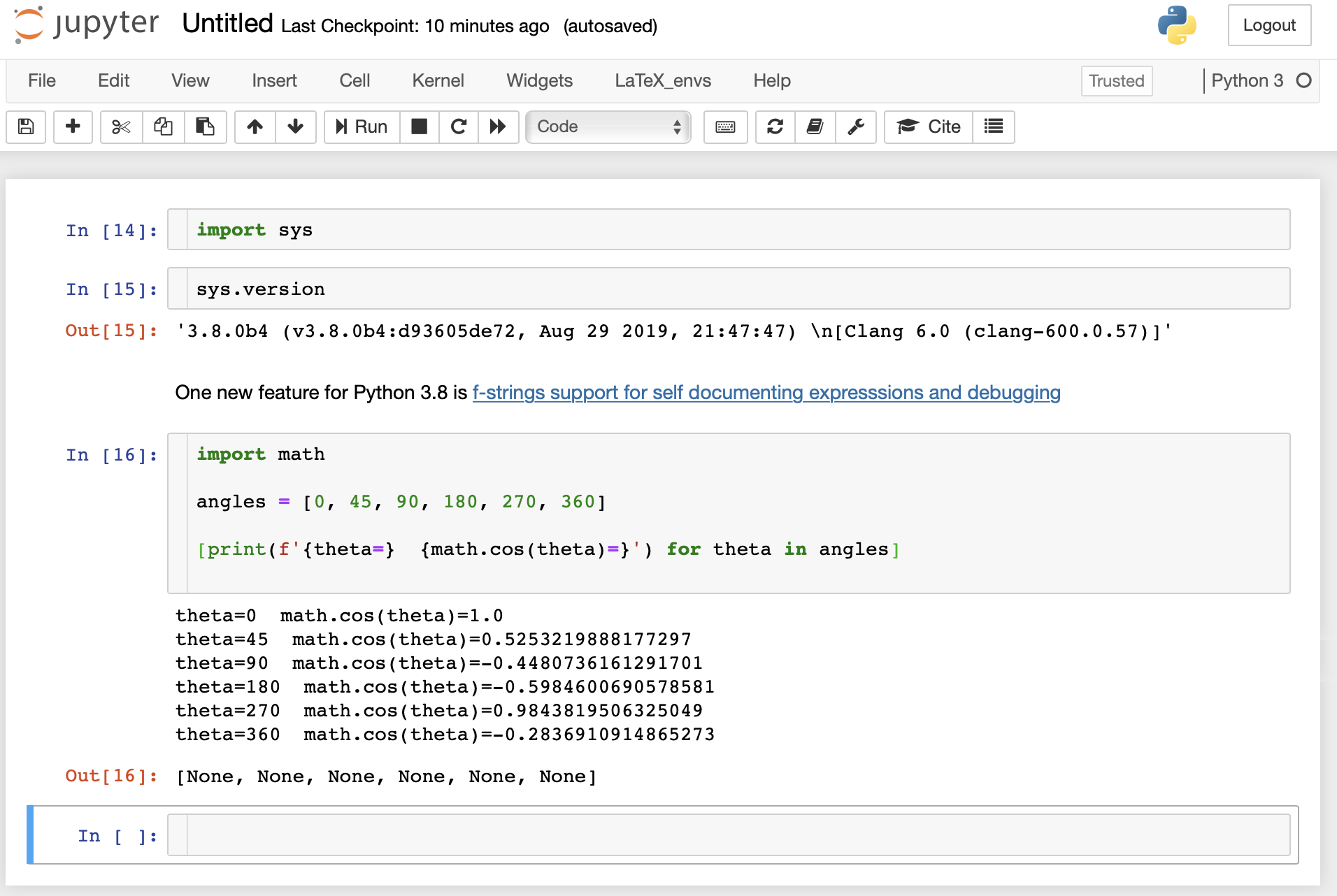 image from Trying the Python 3.8 beta with Jupyter Notebook